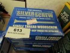 3x The Original Silver Screw - Single Thread Woodscrew 4.0 x 35mm (200 Per Box) - Unused & Boxed.