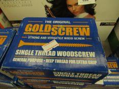 2x The Original Gold Screw - Single Thread Woodscrew 4.5 x 50mm (200 Per Box) - Unused & Boxed.