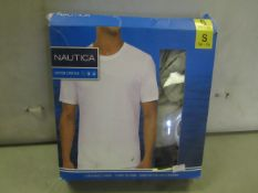 PK of 3 Nautica Crew Neck T/Shirts Size S Grey White Navy, Colours May Vary from Pic ,New &