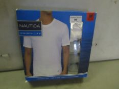 PK of 3 Nautica Crew Neck T/Shirts Size M Grey & White New & Packaged