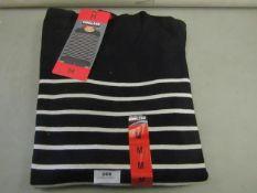 Kirkland Signature Ladies Crewneck Sweater Navy/Cream Stripe Size M New With Tags