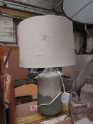 | 1X COX AND COX DRIP GLAZED TABLE LAMP CREAM/GREY | DAMAGED SHADE | RRP £85