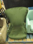 | 1X | MADE.COM HIGH BACK GREEN ARMCHAIR | NO VISIBLE DAMAGE BUT MISSING LEGS | RRP ?- |
