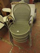 Set of 4x mesh metal chairs, no major damage.