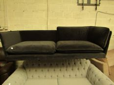 | 1X | MADE.COM WES 2 SEATER SOFA, MOURNE GREY VELVET | MISSING BACK CUSHION & MAY HAVE SMALL