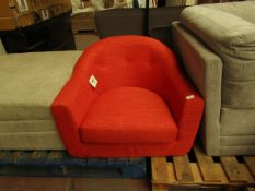 | 1X | MADE.COM RED FABRIC TUB CHAIR | NO MAJOR DAMAGE AND MISSING FEET | RRP ?250 |