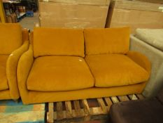 | 1x | MADE.COM MUSTARD 2 SEATER SOFA | NO MAJOR DAMAGE AND IS MISSING FEET | RRP œ899 |