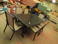 Costco 6 piece outdoor garden set metal, table needs attention as it has marks and scuffs and is
