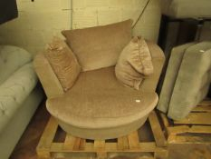 Swivel Round Armchair With 3 Cushions, No Major Damage Visible but has a small bit of Damage at