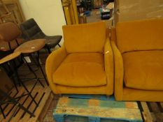 | 1x | MADE.COM MUSTARD ARMCHAIR | NO MAJOR DAMAGE AND INCLUDES FEET | RRP œ299 |