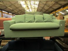 | 1X | MADE.COM MINT GREEN 3 SEATER SOFA | NO MAJOR DAMAGE AND MISSING FEET | RRP œ599 |