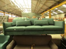 | 1X | MADE.COM GREEN VELVET 3 SEATER SOFA | NO VISIBLE DAMAGE BUT IS MISSING FEET | RRP CIRCA