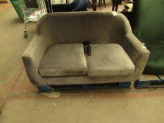 1 x Made.com Custom MADE Tubby 2 Seater Sofa Steel Grey Velvet with Black Wood Leg RRP œ349 SKU