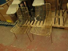 | 1X | MADE.COM SET OF 2X GOLD WIRE CHAIRS | LOOKS UNUSED | RRP- |