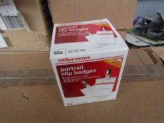 8x Office Depot - Portrait Clip Badges 60 x 90mm (4 Cartons Containing 50 Per Box) - Unused &