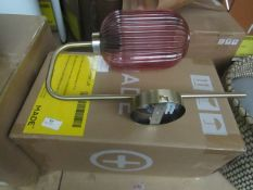   1x   MADE.COM BRIZ WALL LAMP ANTIQUE BRASS & PINK   NO VISIBLE DAMAGE & BOXED   RRP £59  
