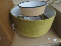 1 x Made.com Haroon Lamp Shade Antique Gold Velvet and Raffia RRP £79 SKU MAD-SHDHAR001GLD-UK