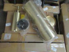 1 x Made.com Lilo Toilet Brush Soap Dispenser & Tumbler Set Brushed Brass RRP £35 SKU MAD-