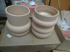 1 x Made.com Bosca Set Of Two Earthenware Planters Sand RRP £39 SKU MAD-IACBOS002PIN-UK TOTAL RRP £