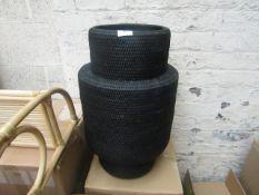 1 x Made.com Hadid Hand Woven Rattan Shaped Laundry Basket Black RRP £85 SKU MAD-STOHAD010BLK-UK