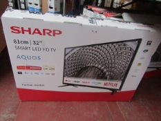 """  1x   SHARP 32"""" SMART LED HD TV   POWERS ON INCLUDES REMOTE CONTROL & NO STAND   BOXED   NO"""