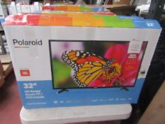 """  1x   POLAROID 32"""" HD READY SMART TV / DVD COMBI   POWERS ON INCLUDES REMOTE CONTROL & STAND  """