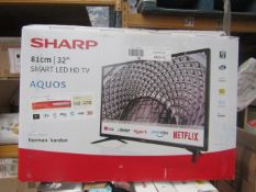 """  1x   SHARP 32"""" SMART LED HD TV   POWERS ON INCLUDES REMOTE CONTROL & STAND   BOXED   NO ONLINE"""