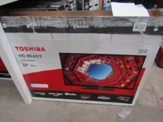 """  1x   TOSHIBA 32"""" HD READY TV / BUILT IN ALEXA   POWERS ON, STAND PRESENT, NO REMOTE CONTROL  """