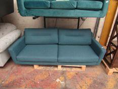 1 x Made.com Custom MADE Tubby 3 seater Tuscan Teal Velvet Dark Wood Leg RRP £449 SKU MAD-