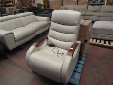 Barcalounger leather swivel rocking electric reclining armchair, unchecked but looks in good
