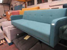1 x Made.com Chou Click Clack Sofa Bed with Storage Sherbet Blue RRP £399 SKU MAD-SOFCHO015BLU-UK