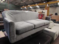 1 x Made.com Custom MADE Tubby 3 Seater Sofa Steel Grey Velvet with Dark Wood Legs RRP £449 SKU