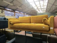 1 x Made.com Harlow Large 2 Seater Sofa Vintage Mustard Velvet RRP £799 SKU MAD-SOFHLW060YEL-UK