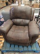 Costco brown leather electric recliner, unchecked for power but overall condition has no major