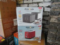 2x Drew & Cole Toasters, 1x 2 slice & 1x 4 Slice Toaster - Unchecked & Boxed - RRP £-