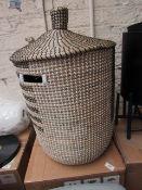 1 x Made.com Havana Seagrass Laundry Basket Black & White RRP œ79 SKU MAD-STOHAV001MUL-UK TOTAL