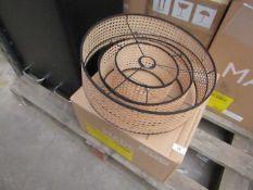 1 x Made.com Sagres Chandelier Lamp Shade Natural Cane & Black RRP œ89 SKU MAD-SHDSAG002BLK-UK TOTAL