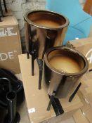 1 x Made.com Gia Set of 2 Metallic Glaze Earthenware Planters with Stand Bronze RRP œ79 SKU MAD-