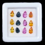 Natural (Untreated ) Sri Lanka Sapphires VVS Clarity – 2.98 Carat – 12 Pieces – Pear Cut. Average