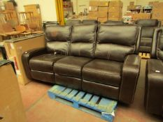 Costco 3 seater leather recliner sofa, untested and some material has been damaged.