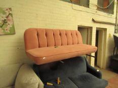 | 1X | MADE.COM PINK VELVET LOVE SEAT | NO MAJOR DAMAGE AND HAS NO FEET (NO GUARANTEE), COULD DO