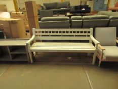 | 1X | COX AND COX OUTDOOR WOODEN BENCH | PAINT APPEARS TO BE PEELING | RRP - |
