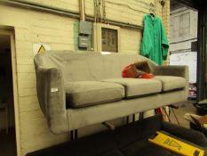 1 x Made.com Custom MADE Tubby 3 Seater Sofa Steel Grey Velvet with Dark Wood Legs RRP ¶œ449 SKU