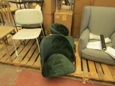 | 1X | MADE.COM ADELINE SET OF 2 CARVER DINING CHAIRS PINE GREEN VELVET | NO LEGS PRESENT & SOME