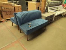 | 1X | COX AND COX BLUE VELVET FLUTED SOFA | BACK OF SOFA APPEARS TO HAVE AN AREA THAT IS REFUBISHED