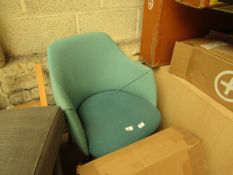   1X   MADE.COM LULE OFFICE CHAIR   MINERAL BLUE & EMERALD GREEN   UNCHECKED & BOXED   RRP £179  