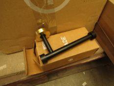 1 x Made.com Zenia Toilet Roll Holder Matt Black & Brushed Brass RRP £29 SKU MAD-BTAZEN002BLK-UK