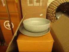   1X   MADE.COM OMIE 12 PIECE SPECKLED GLAZE DINNER SET   TONAL GREY   UNCHECKED & BOXED   RRP £