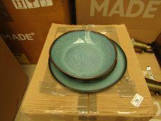 1 x Made.com Krisha 12 Piece Reactive Glaze Dinner Set Turquoise and Charcoal RRP £99 SKU MAD-