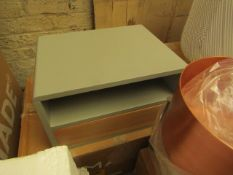 1 x Made.com Ukan Bedside Table Grey and Oak RRP £129 SKU MAD-STBUKA002GRY-UK TOTAL RRP £129 This